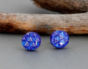 Blue Stud Earrings in Sterling Silver - Dichroic Glass Jewelry