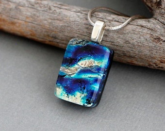 Blue Glass Necklace - Fused Glass Jewelry - Unique Necklace for Women - Blue Dichroic Glass Pendant Necklace - Unique Jewelry