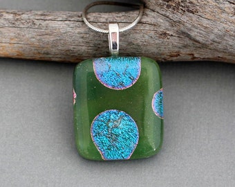 Fused Glass Pendant Necklace For Women - Green Dichroic Glass Pendant Necklace - Unique Gifts For Women - Handmade Glass Jewelry