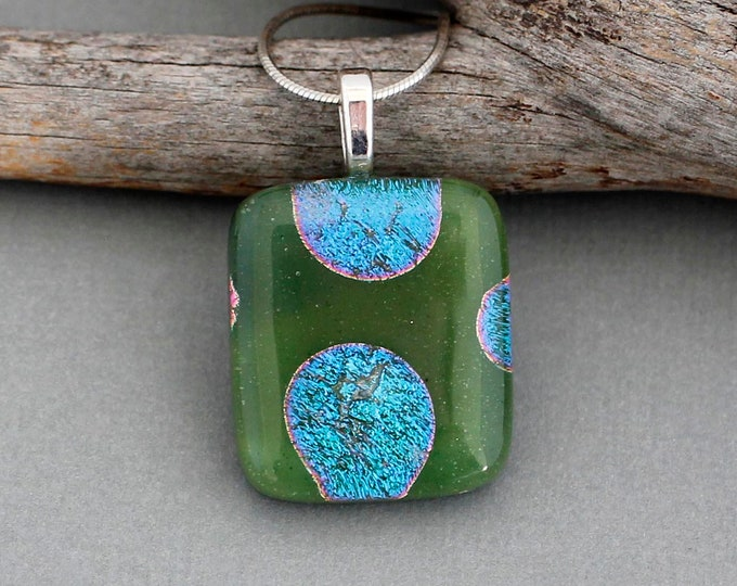 Featured listing image: Fused Glass Pendant Necklace For Women - Green Dichroic Glass Pendant Necklace - Unique Gifts For Women - Handmade Glass Jewelry