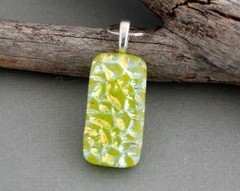 Green Glass Pendant Necklace - Unique Jewelry For Women - Fused Glass Jewelry - Unique Gift For Women - Dragon Glass - Green Necklace