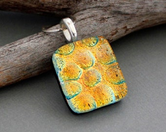 Orange Necklace For Women - Dichroic Fused Glass Pendant Necklace - Gift For Women - Unique Handmade Jewelry