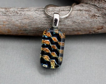 Fused Glass Jewelry Pendant Necklace - Dainty Necklace - Geometric Necklace Pendant - Dichroic Glass Necklace - Gift For Friend