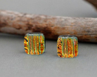 Dichroic Glass Stud Earrings - Unique Gift For Women - Unique Earrings - Orange Earrings - Sterling Silver - Square Stud Earrings