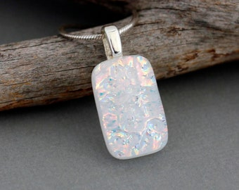 Flower Girl Necklace - Bridesmaid Gift - White Dichroic Glass Pendant