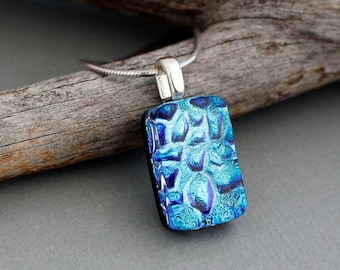 Blue Glass Necklace For Women - Unique Birthday Gift - Blue Pendant Necklace - Dichroic Glass Pendant Necklace