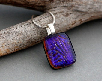 Purple Dichroic Glass Pendant Necklace - Unique Handmade Jewelry - Fused Glass Necklace
