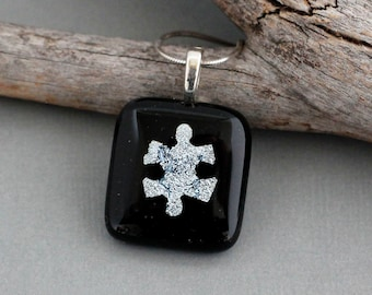 Silver Puzzle Piece Necklace Pendant for Autism Awareness - Autism Jewelry - ASD - Autism Mom Gift