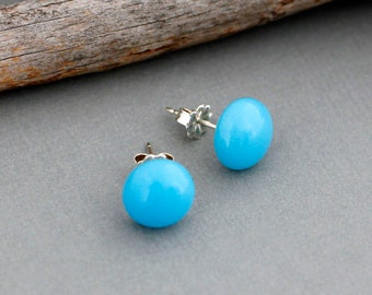 Turquoise Blue Glass Stud Earrings in Sterling Silver - Handmade Glass Earrings - Fused Glass Jewelry - Everyday Earrings