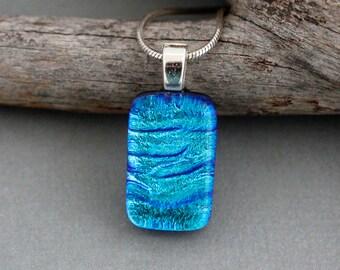 Unique Necklace For Women - Blue Pendant Necklace - Unique Pendant Necklace - Unique Gift For Women - Dichroic Glass Pendant - Blue Necklace