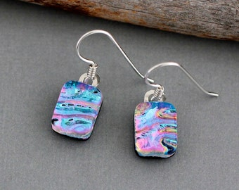 Fused Glass Earrings - Sterling Silver Dangle Earrings - Colorful Rainbow Earrings - Unique Gift for Women  - Dichroic Glass Earrings