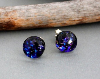 Sterling Silver Earrings Studs - Unique Stud Earrings - Blue Dichroic Glass Earrings - Gift For Her - Fused Glass Jewelry