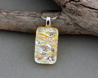 Yellow Dichroic Glass Pendant Necklace For Women - Unique Jewelry For Women - Birthday Gift For Friend - Fused Glass Jewelry