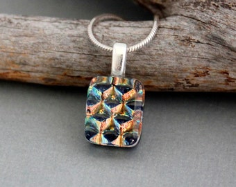 Fused Glass Pendant Necklace - Orange Necklace  - Dainty Necklace Pendant - Dichroic Glass Jewelry - Unique Necklace For Women