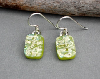 Handmade Dichroic Glass Earrings Sterling Silver - Green Dangle Earrings - Unique Jewelry For Women - Green Jewelry  - Green Earrings