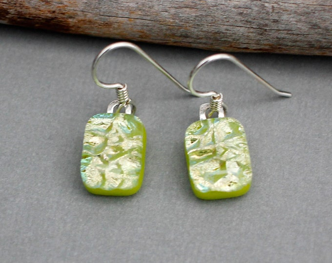 Featured listing image: Handmade Dichroic Glass Earrings Sterling Silver - Green Dangle Earrings - Green Jewelry  - Green Earrings