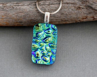 Lime Green Necklace Pendant - Dichroic Glass Jewelry For Women - Handmade Jewelry - Holiday Gift For Friend