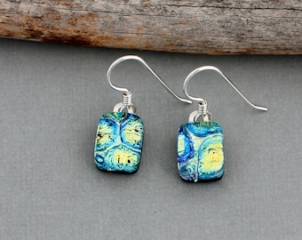 Green Dangle Earrings for Women - Sterling Silver - Fused Dichroic Glass Earrings - Unique Gift For Women