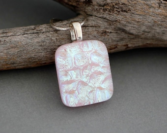 Unique Pink Dichroic Glass Pendant Necklace - Fused Glass Jewelry - Pink Bridesmaid Necklace Gift - Unique Jewelry