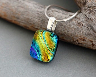 Rainbow Necklace - Dichroic Rainbow Glass Pendant Necklace - Rainbow Jewelry - LGBT Jewelry - Gay Pride - LGBT Gift