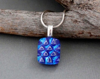 Dainty Necklace - Blue Pendant Necklace For Women - Dichroic Glass Pendant Necklace - Unique Birthday Gift For Friend