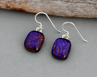Red and Purple Earrings - Dichroic Glass Earrings - Sterling Silver Dangle Earrings - Unique Gifts For Women - Fused Glass Earrings