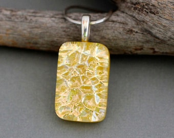 Yellow Pendant Necklace - Dichroic Glass Necklace Pendant - Unique Gift For Women - Yellow Necklace - Unique Jewelry