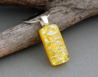 Dainty Necklace - Yellow Necklace - Dichroic Glass Pendant Necklace - Birthday Gift For Her - Unique Pendant - Fused Glass Jewelry