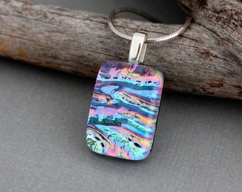 Dichroic Glass Pendant Necklace - Fused Glass Jewelry - Unique Gift For Women - Stocking Stuffer
