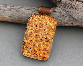 Orange Necklace in Fused Dichroic Glass - Unique Gift For Women - Handmade Jewelry
