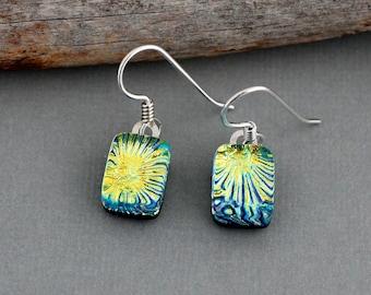 Green Dangle Earrings - Dichroic Glass Earrings - Fused Glass Earrings - Lime Green Earrings - Unique Earrings - Drop Earrings