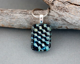 Unique Necklace For Women - Fused Dichroic Glass Pendant Necklace - Geometric Necklace - Unique Jewelry Gift For Her