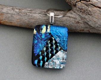 One of a Kind Dichroic Glass Pendant - Unique Jewelry for Women - Blue Glass Necklace Pendant