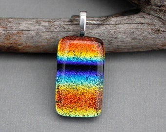 Rainbow Dichroic Glass Pendant Necklace For Women - Rainbow Jewelry - Rainbow Pride Necklace - LGBT Gift