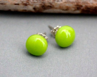 Bright Green Glass Stud Earrings - Fused Glass Earrings - Green Earrings - Colorful Stud Earrings - Sterling Silver -  Handmade Jewlery