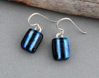 Unique Blue Stripe Dichroic Glass Earrings - Unique Jewelry For Women - Handmade Earrings - Fused Glass Jewelry
