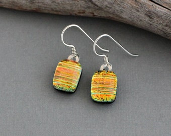 Unique Gift For Women - Unique Earrings - Fused Glass Earrings - Orange Dichroic Glass Earrings - Dichroic Earrings
