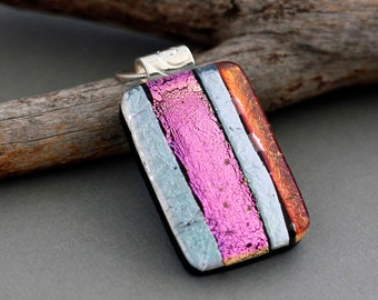 Statement Necklace For Women - Pink Pendant Necklace - Dichroic Glass Jewelry - Unique Pendant Necklace - Unique Jewelry For Women