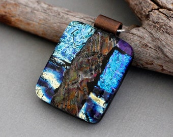 Dichroic Fused Glass Pendant Necklace - Statement Jewelry - Unique Gift For Women
