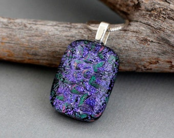 Unique Gift For Women - Purple Necklace - Fused Glass Pendant - Unique Dichroic Glass Jewelry - Purple Pendant Necklace