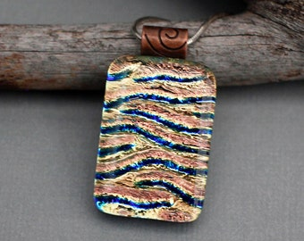 Unique Necklace - Earth Tone Jewelry - Birthday Gift For Mom - Dichroic Glass Necklace - Unique Jewelry For Women