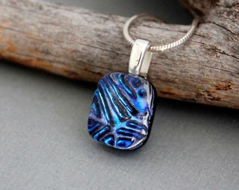 Blue Glass Necklace - Fused Glass Jewelry - Stocking Stuffer