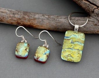 Colorful Dichroic Glass Jewelry Set - Unique Gift For Her - Unique Handmade Jewelry - Fused Glass Jewelry - Necklace and Earrings