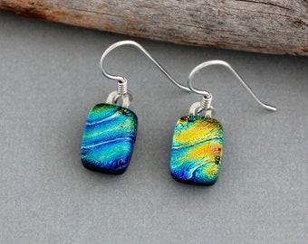 Rainbow Earrings - Dichroic Glass Earrings - Unique Earrings - Fused Glass Dangle Earrings - Sterling Silver - LGBT Jewelry