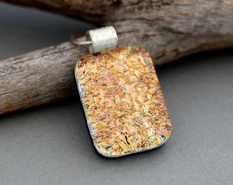 Dichroic Glass Jewelry - Orange Necklace Pendant - Unique Pendant Necklace - Unique Gift For Women - Fused Glass Pendant - Autumn Jewelry