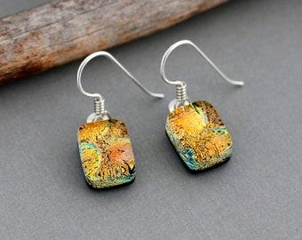 Orange Earrings - Unique Earrings in Sterling Silver  - Dichroic Glass Earrings - Unique Gift For Women - Fused Glass Jewelry