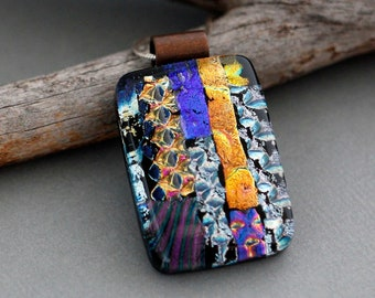 Unusual Jewelry - Colorful Necklace For Women - Dichroic Glass Jewelry - Statement Necklace - Unique Pendant Jewelry