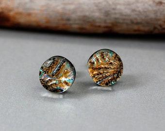 Sterling Silver Earrings Studs - Unique Stud Earrings - Dichroic Glass Earrings - Christmas Gift For Her - Fused Glass Earrings