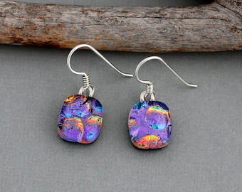 Fused Glass Earrings - Purple Dangle Earrings - Christmas Gift For Her - Dichroic Glass Jewelry For Women