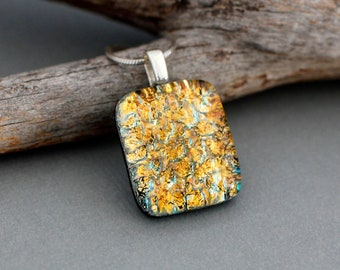 Gold Dichroic Glass Necklace Pendant - Gold Pendant - Birthday Gift For Friend - Fused Glass Jewelry - Unique Pendant